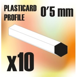 Perfil Plasticard BARRA Hexagonal 0'5mm