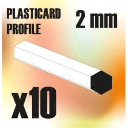 ABS Plasticard - Profile Hexagonal ROD 2mm