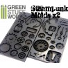 PACK x2 Steampunk Outtie and Innie Gear Texture RUBBER STAMPS