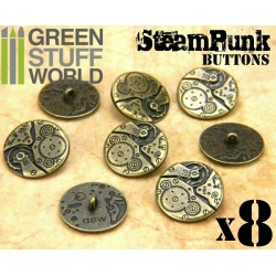 8x Steampunk Buttons WATCH MOVEMENTS - Bronze