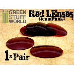 1x pair LENSES for Steampunk Goggles - Color RED