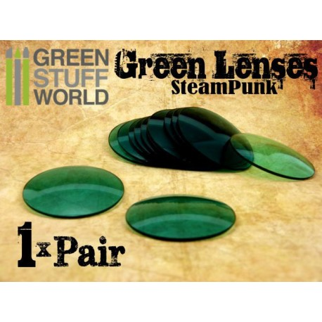 1x pair LENSES for Steampunk Goggles - Color GREEN