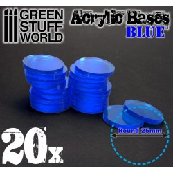25 mm runde Acryl Basen Transparent BLAU