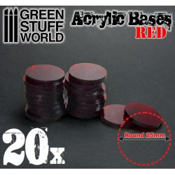 25 mm runde Acryl Basen Transparent ROT