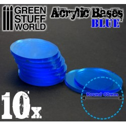 40 mm runde Acryl Basen Transparent BLAU