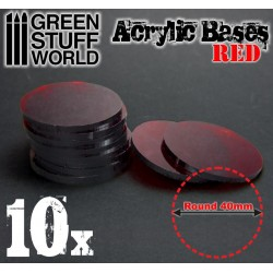 40 mm runde Acryl Basen Transparent ROT