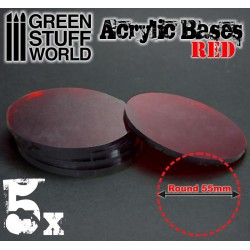 55 mm runde Acryl Basen Transparent ROT