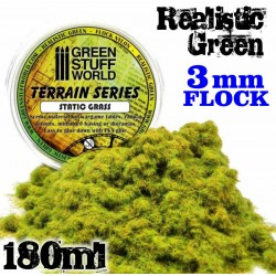 Static Grass Flock 3 mm - Realistic Green - 180 ml