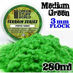 Static Grass Flock 3 mm - Medium Green - 280 ml