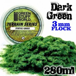 Static Grass Flock 3 mm - Dark Green - 280 ml