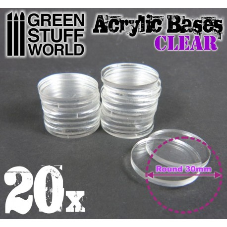 30 mm runde Acryl Basen Transparent
