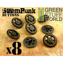 8x Steampunk Buttons FLYWHEEL GEARS - Bronze