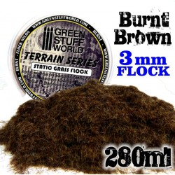 Static Grass Flock 3 mm - BURNT Brown - 280 ml