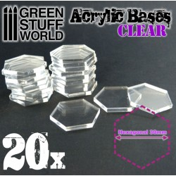 Acrylic Bases - Hexagonal 30 mm CLEAR