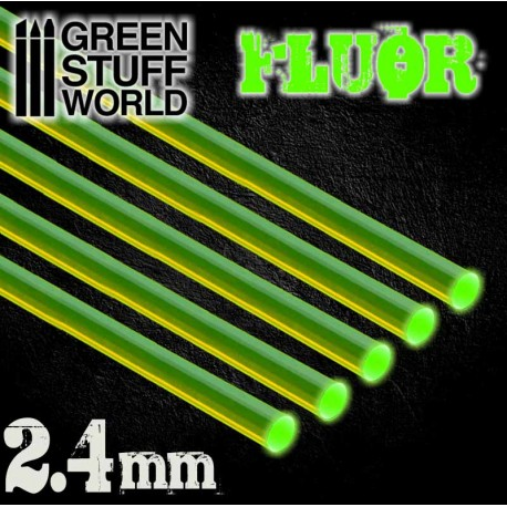 Acrylic Rods - Round 2.4 mm Fluor GREEN