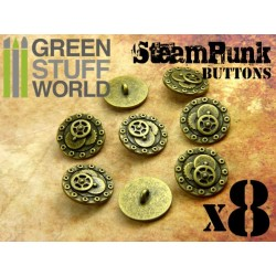 8x Steampunk Buttons BOLTS and GEARS - Antique Gold