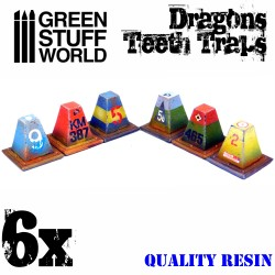 6x Resin Dragon Teeth Traps for Tanks