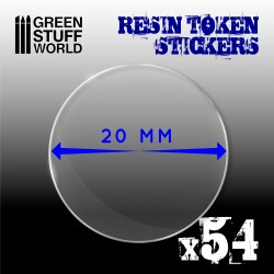 54x Resin Token Stickers 20mm