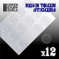 12x Resin Token Stickers 40mm