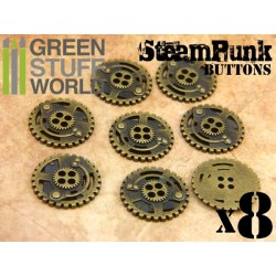 8x Steampunk Buttons SPROCKET GEARS - Bronze