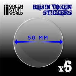 6x Resin Token Stickers 50mm