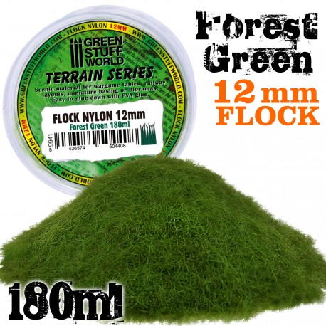 Static Grass Flock 12mm - Forest Green - 180 ml