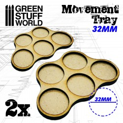 MDF Regimentsbases 32mm x5 - Skirmish