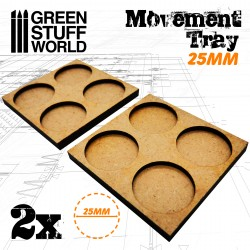 MDF Regimentsbases 2x 25mm