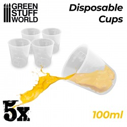 5x Disposable Measuring Cups 100ml