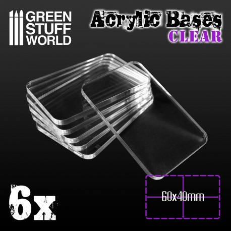 Acrylic Bases - Square 60x40mm CLEAR