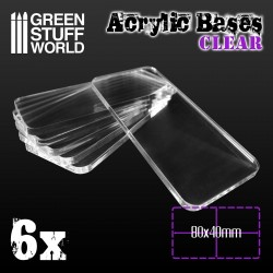 Acrylic Bases - Square 80x40mm CLEAR
