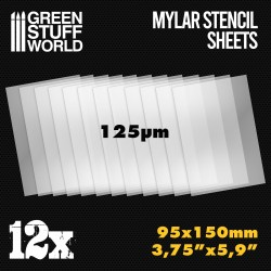 Small Mylar Stencil Sheets x12