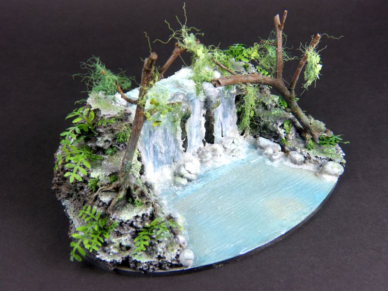 waterfall diorama with paper branches creative