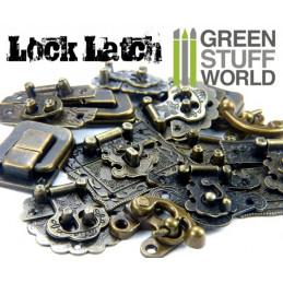 6x Box Locks ANTIQUE BRONZE - Catch Latches
