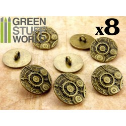 8x Steampunk Buttons GEARS MECHANISM - Antique Gold