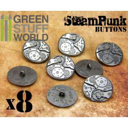 8x Boutons à motifs Steampunk MOUVEMENTS mécaniques - argenté