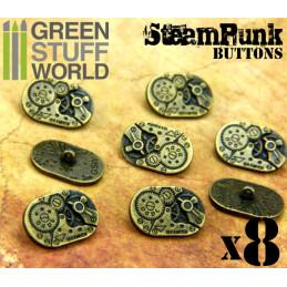 8x Boutons Ovale à motifs Steampunk MOUVEMENTS mécaniques - Bronze
