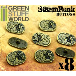 8x Steampunk Oval Buttons WATCH MOVEMENTS - Bronze