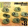 8x Steampunk Oval Buttons WATCH MOVEMENTS - Bronze
