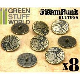 8x Boutons à motifs Steampunk MOUVEMENTS mécaniques - Bronze
