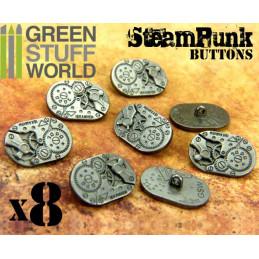 8x Boutons Ovale à motifs Steampunk MOUVEMENTS mécaniques - Argenté