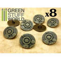 8x Botones Steampunk RUEDAS ENGRANAJES - Bronce
