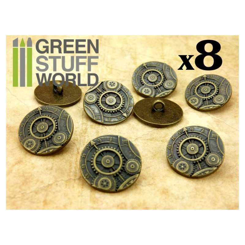 8x Steampunk Buttons GEARS MECHANISM - Bronze
