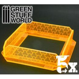 5x Kleine transparenten Acrylwänden - phosphoreszierend Orange