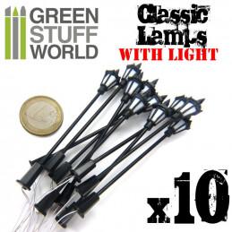 10x Lampadaires classiques avec LED