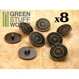 8x Botones Steampunk RELOJ ANTIGUO - Bronce
