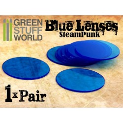 1x pair LENSES for Steampunk Goggles - Color BLUE