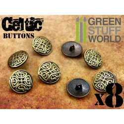 8x CELTIC eternal Knuds Buttons - Antique Gold – 5/8 inches - 17mm