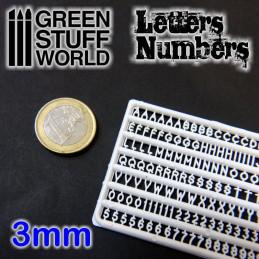 Buchstaben und Zahlen 3 mm