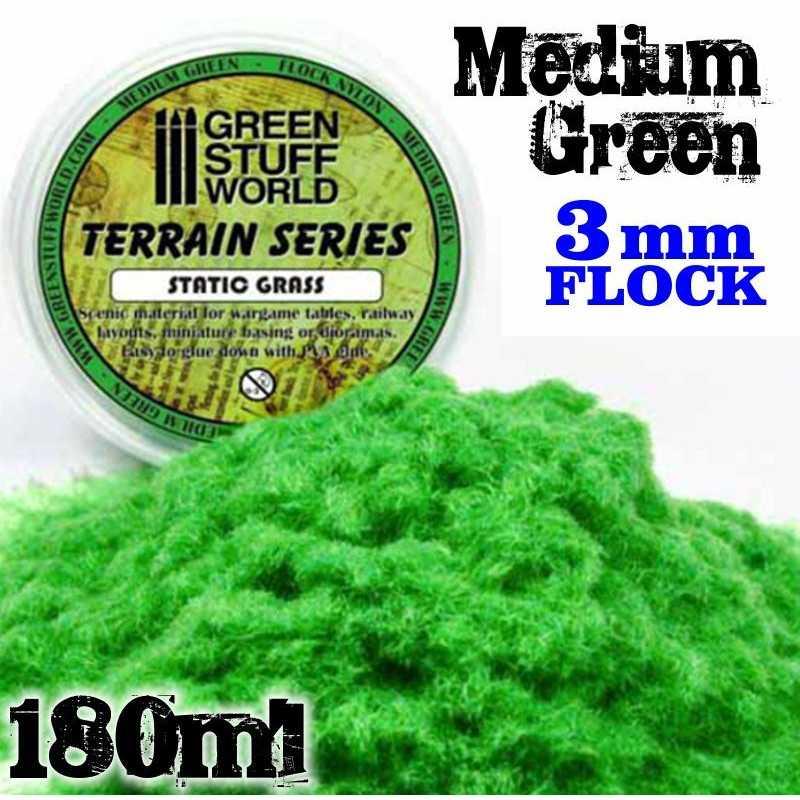 Static Grass Flock - Medium Green - 180 ml - L